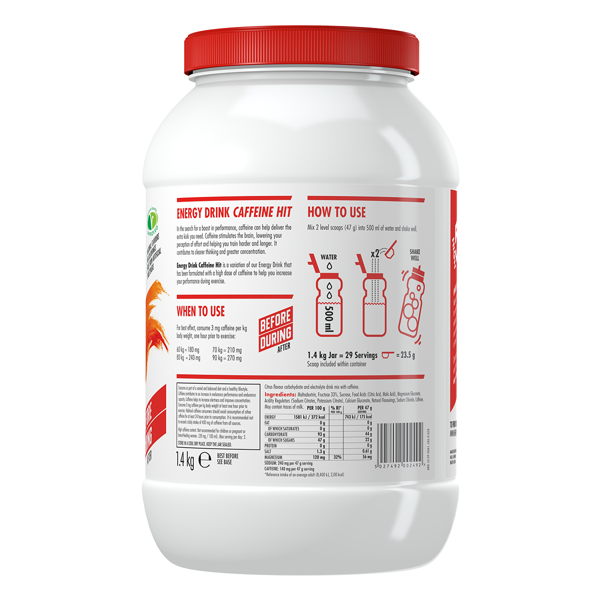 High5 2:1 Energy Drink Caffeine HIT (X'Treme) - Citrom ízű, 1,4 (kg),  (30